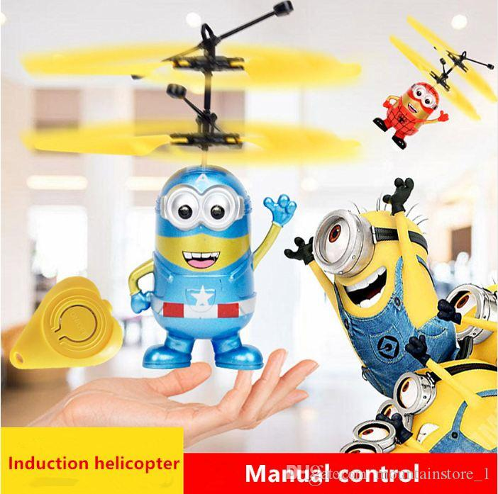 Newly Minion drone RC Helicopter Aircraft Mini drone Fly Flashing helicopter Hand Control RC Toys Minion Quadcopter Dron LED Kids Toys