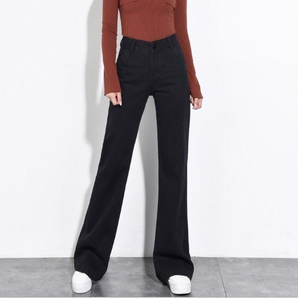 567c0c7e7df7d 2019 2018 Autumn Winter Flare Jeans For Women Wide Leg Loose Black Jeans  Woman High Waist Bell Bottom Long Denim Pants From Buttonline
