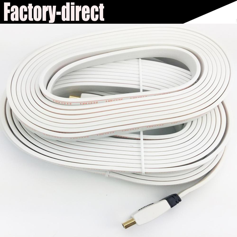 2018 Flat Hdmi Cable 10m White Color Hdmi 1.4v 3d&Full Hd1080p 4kx2k ...