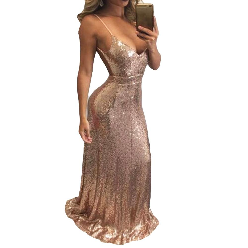 54c609ff676 Sexy Women Glitter Sequin Bodycon Maxi Dress V Neck Open Back Zipper Luxury  Formal Dress Party Sparkly Long Slip Dress Vestidos Unique Dresses Long  Summer ...