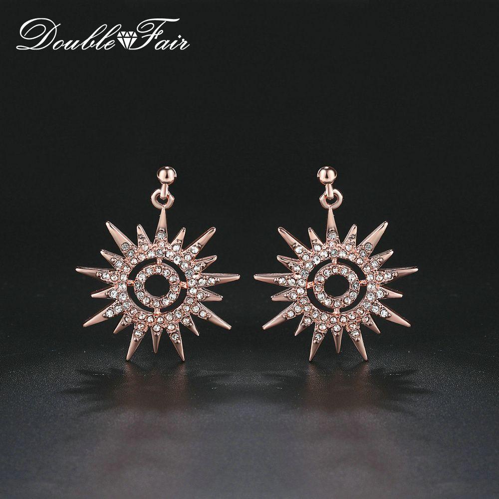 53920d938 2019 18K Rose Gold Plated Copper Metal Sunflowers Dangle Earrings In CZ  Diamond Piercing Earrings For Women Party Fashion Brand Jewelry KC163 From  ...