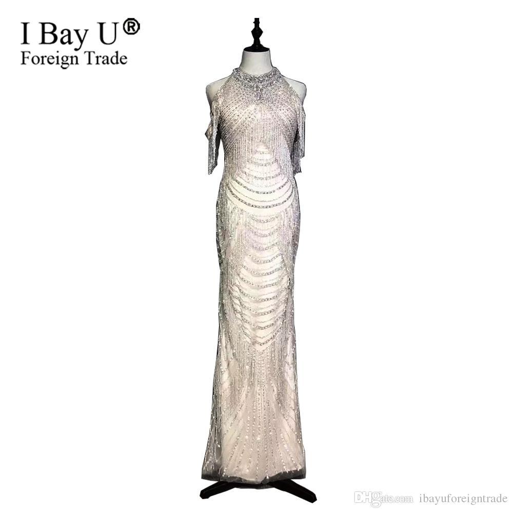 ac000992477 Роскошный Кристалл бисером оболочки вечерние платья 2019 мода холтер  рукавов выпускного вечера платье обратно Сплит вечерние платья