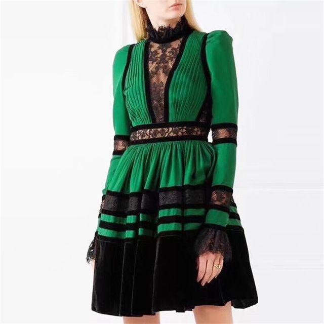 Großhandel Herbst Frauen Kleid Hohe Qualität Langarm Spitze Stil Grün Kleid  Vestidos Patchwork Elestic Taille Runway Kleid Outfits Von  Dongguan wholesale, ... 8f912f29e1