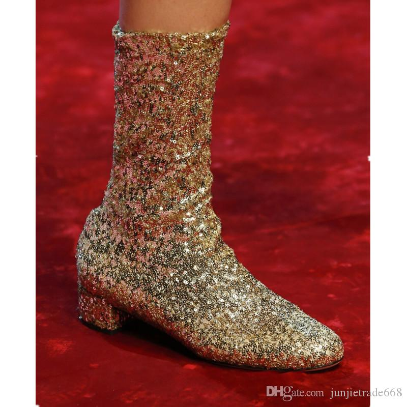 2018 High quality Milan catwalks new silver boots low round with sequins nightclub shoes women's fashion Slim