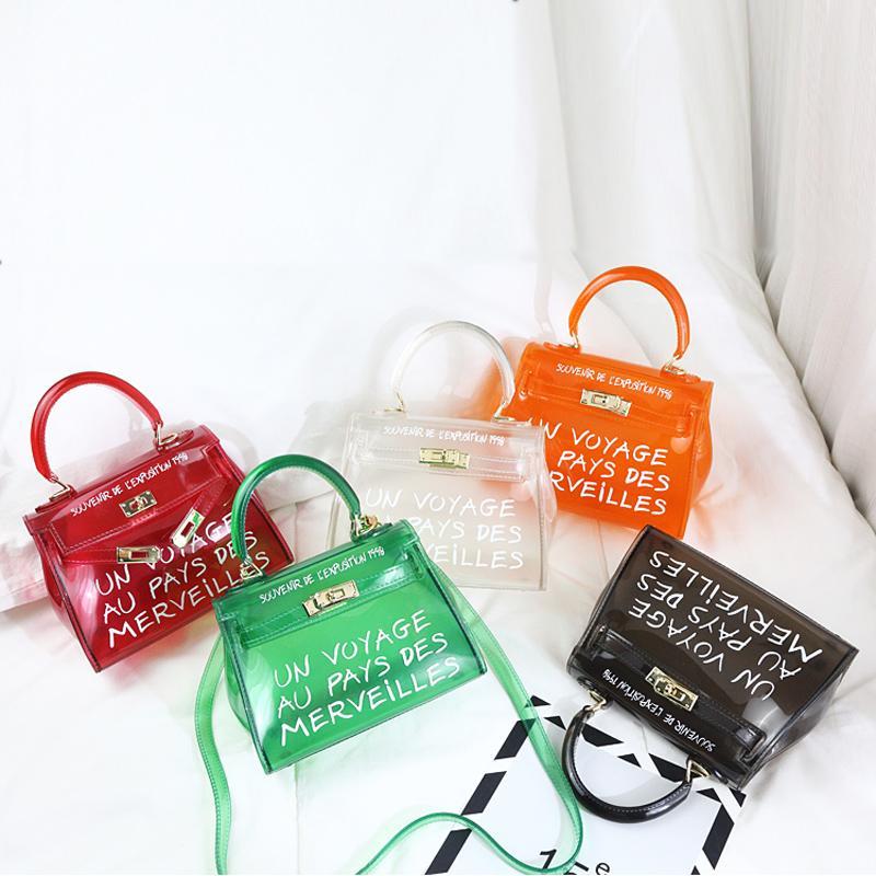 TekiEssica Satchel Handbag Women Bag Clear Jelly Transparent PVC Bag Candy  Color Tote Designer Purse Bolsa Crossbody Messenger Bags For Women Leather  ... 1b00c78939a1f