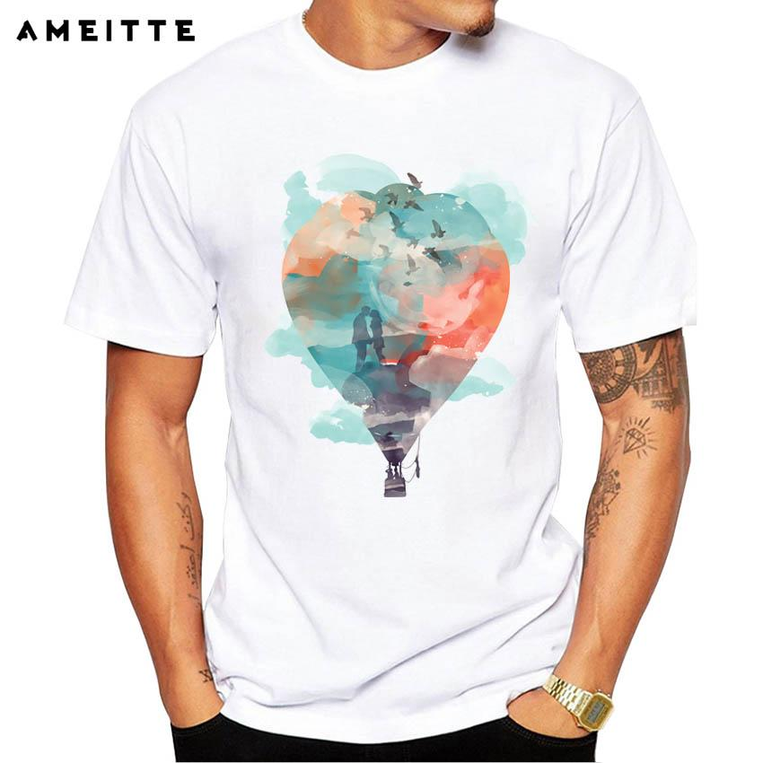 Ameitte 2018 Love Is In The Air Men's Hipster Balloon Printed T-shirt Hight Quality Custom Lover Short Sleeve Top Tee