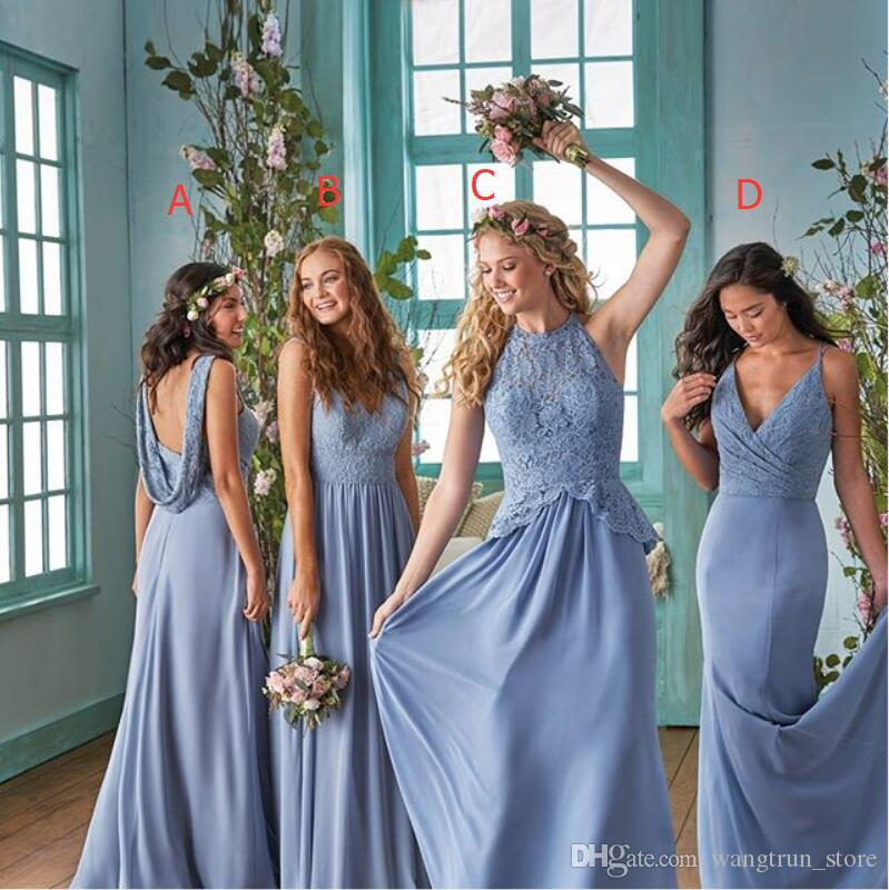 Elegant Long Chiffon Country Bridesmaid Dresses 2019 Deep V Neck Lace Bodice Mermaid Maid Of Honor Dresses