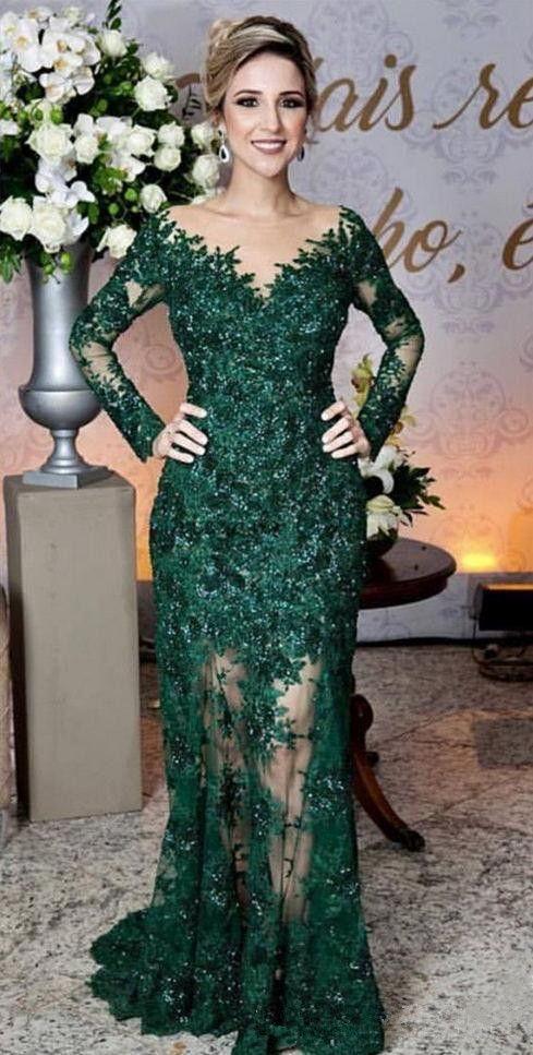 매력적인 에메랄드 그린 이브닝 드레스 패션 레이스 Applique 긴 소매 인 어 공주 댄스 파티 복장 맞춤 튜 닉 긴 저녁 가운을 통해 만든