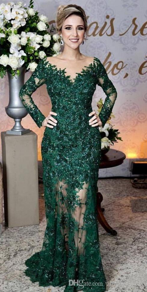 Glamorous Emerald Green Evening Dresses Fashion Lace Applique Long Sleeve Mermaid Prom Dress Custom Made See Through Tulle Long Evening Gown