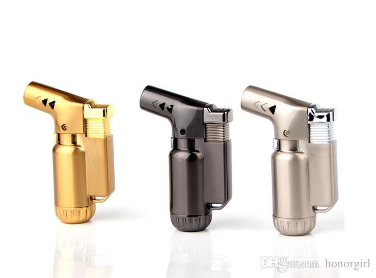 Mais novo Mini Torch Jet Isqueiro À Prova de Vento Butano Charuto Cigarro Micro Lighter Recarregável Sem Gás 3 cores Para Fumar Cozinha Ferramentas