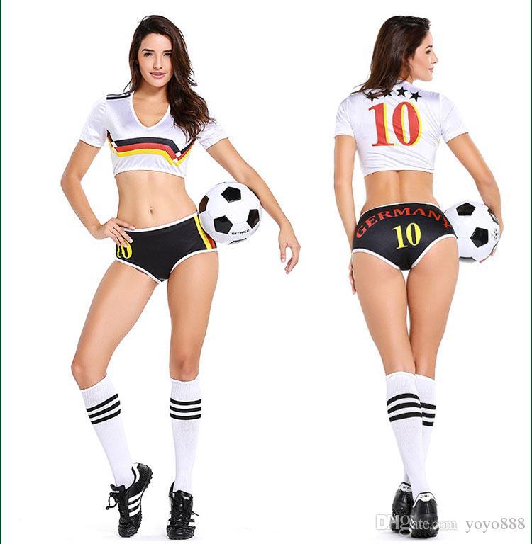Sexy Lingerie Uniform Soccer Player Germania Cheerleader Coppa del Mondo di calcio Girl Fancy Dress Costume P2808
