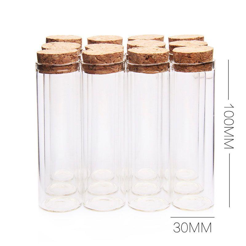 New 50ml 30*100mm Transparent Test Tube Glass Bottle with Cork Stopper Spice Bottles Container Jars Vials Sample Bottle