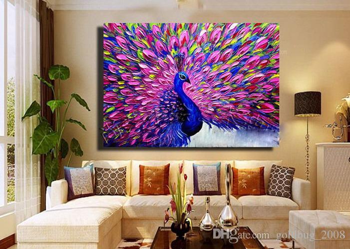 Moderne abstrakte Kunst handbemalt Malerei Dekor Wand: Pfau kein Rahmen 24 * 24Zoll