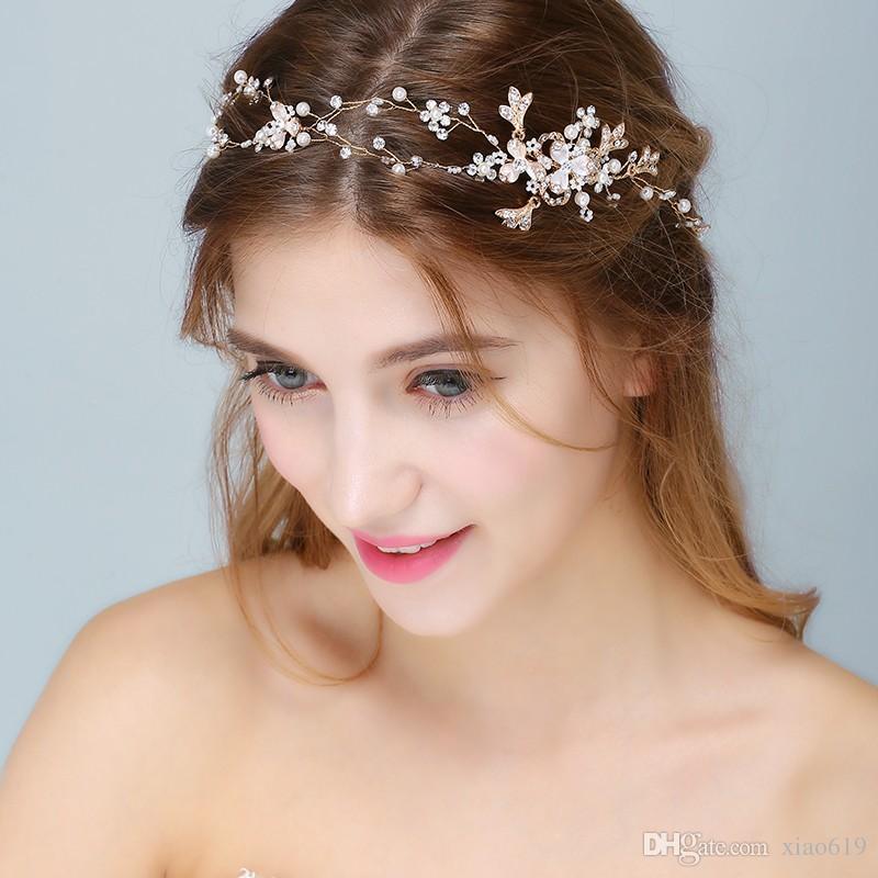 Charming Gold Silver Headband Bridal Tiara Hair Vine Pearls Wedding Jewelry Hair Accessories Piece Women Headpiece