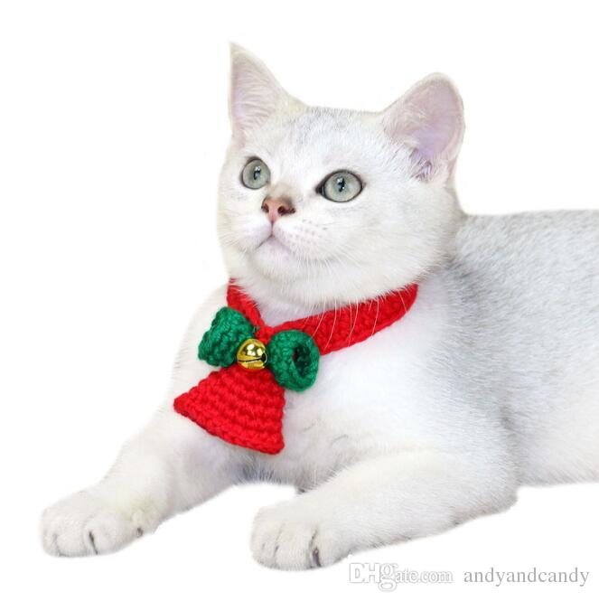 pet cat christmas collar bowtie cats collar with christmas bell santa scarf for cat small dog jewelry pet supply 3 sizes