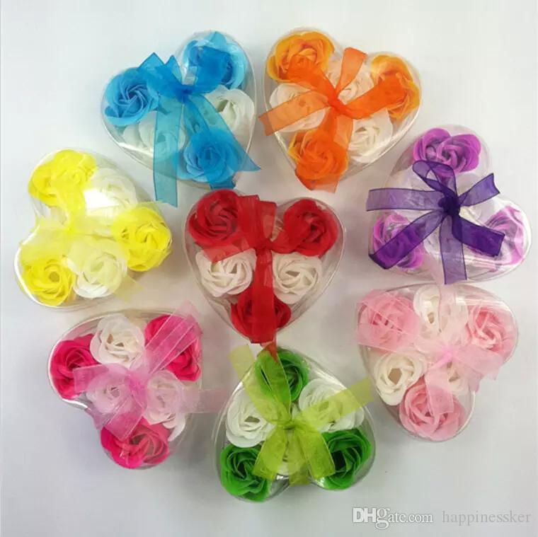 New Beautiful Heart Shaped Bicolor Rose Soap Flower (6pcs / box) Bath Soap Flower For Romantic Wedding Favor Valentines Day Gifts