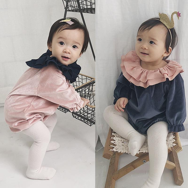 7be5b372211b 2019 INS Baby Girl Clothing Romper Ruffles Collar Long Sleeve Solid Color  Romper Spring Fall Girl Clothing Outwear Romper From Paco cha