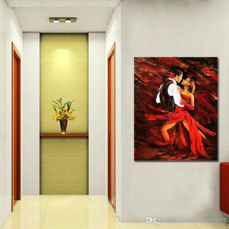 Handgemalte Moderne abstrakte Ölgemälde Eleganter Cha-Tanz Keine gerahmte Dekoration Leinwandkunst