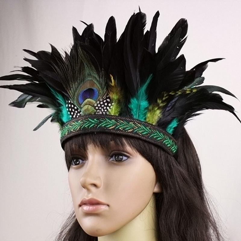 Acheter Accessoires De Mode Bande De Cheveux Indien Peacock Plume Coiffure  Coiffure Coiffure Bandeau Pour Adultes Et Enfants Halloween Carnaval S924  De