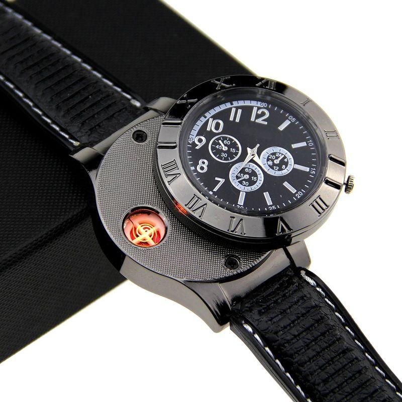 USB charging cigarette lighter wearable smart watch cigarette holdert ungsten wire anti-wind men's creative metal watch.