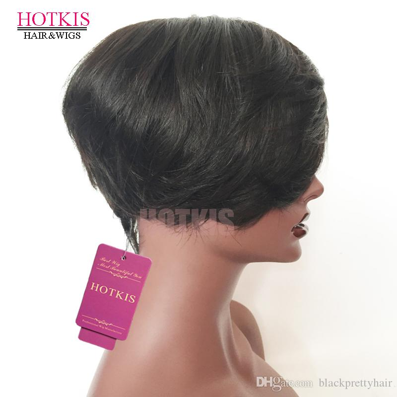 HOTKIS High Density Human Hair Short Cut Long Bangs Glueless Bob Wigs Black Layered Cut Short Wigs for Women