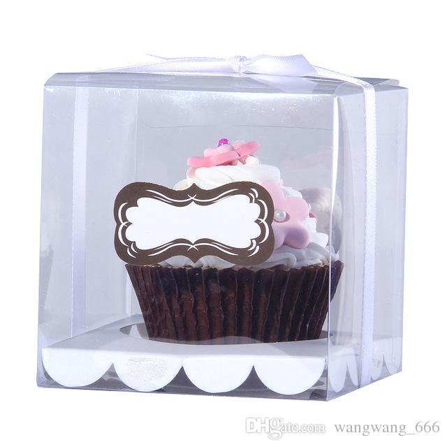 Wedidng Cupcake Box Clear PVC Transparent Cake Boxes With Base Inside Wedding Party Gift Box And Cake Packaging Sliver