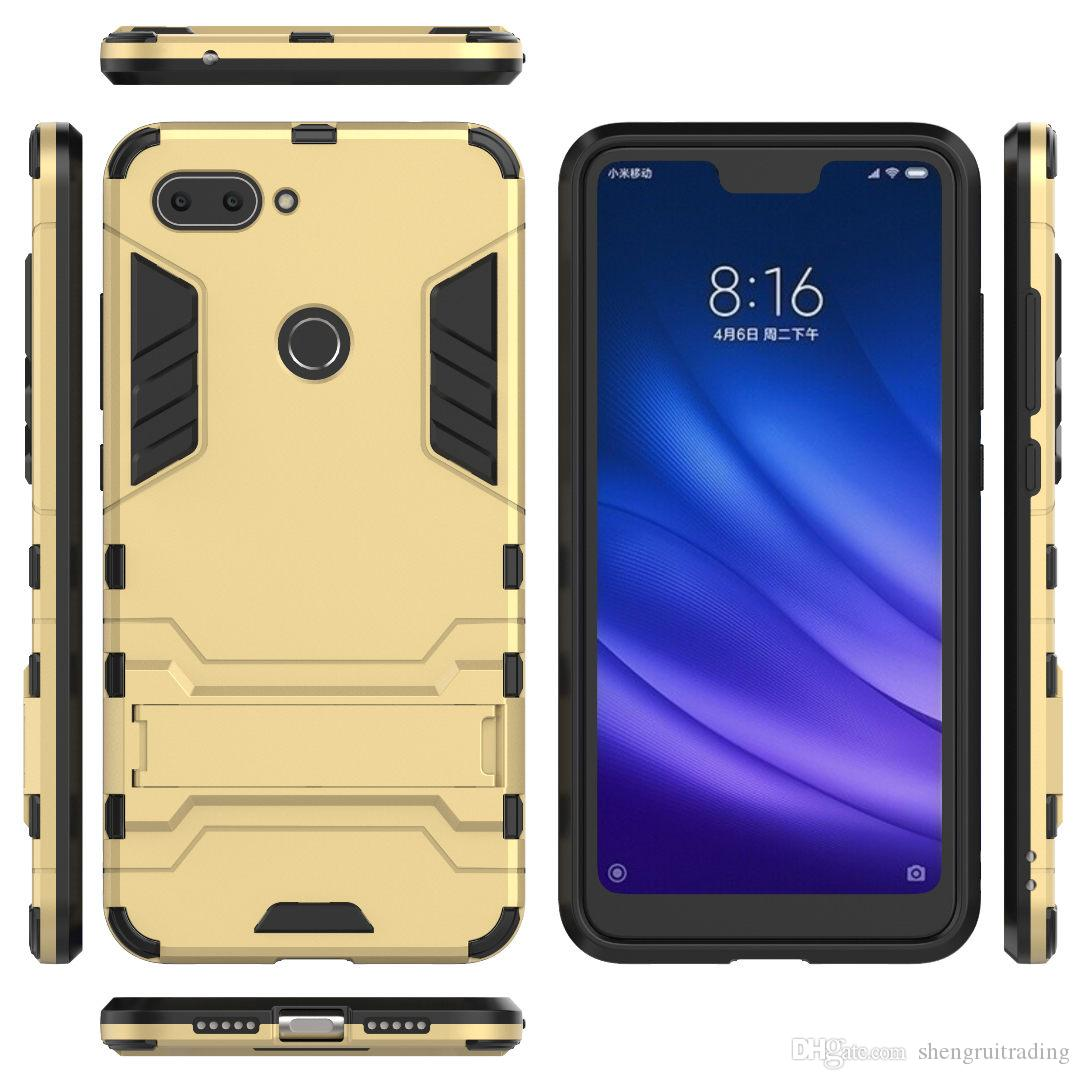 sports shoes 6ebbb c227a New Hybrid 2 in 1 Hard PC TPU Back Cover Case For Xiaomi MI 8 SE Lite  Pocophone F1 Redmi Note 6 Pro S2 6A A2 6X with Stand Flexible Armor