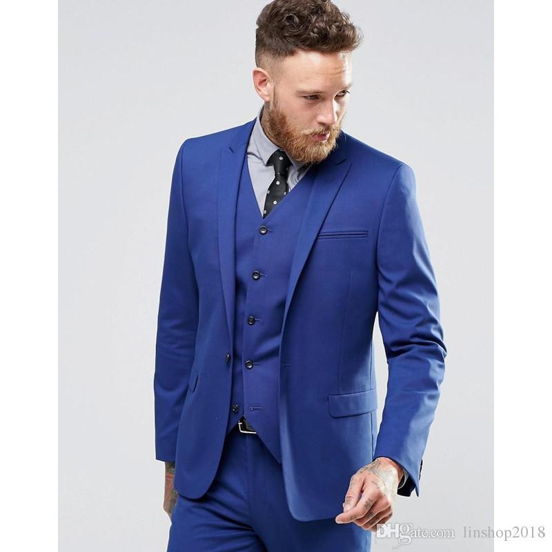 9103a5d773f53 Compre Trajes De Novio Color Azul Gentle Man Smoking Imagen Real Trajes De  Novio Guapo Un Botón Traje De Boda Slim Fit Para Hombres Jacket + Pants +  Vest A ...