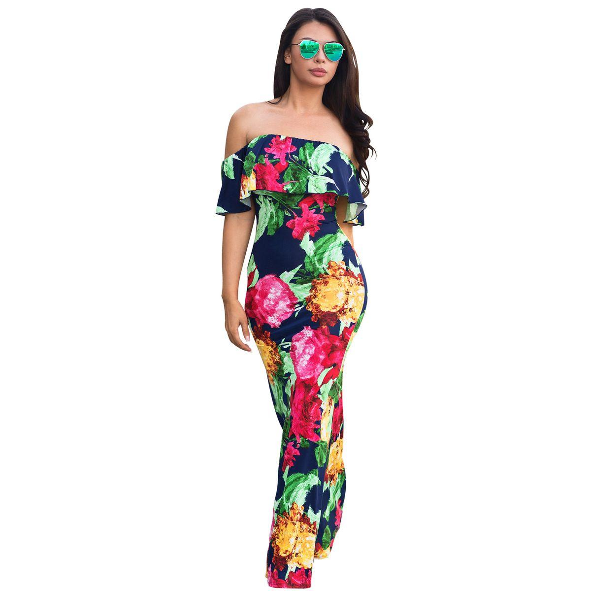 17f515562e133 Ladies Summer Ruffles Evening Party Long Maxi Dress Women Floral Print Off  Shoulder Boho Dress Off The Shoulder Summer Dress Floral Dress Online From  ...