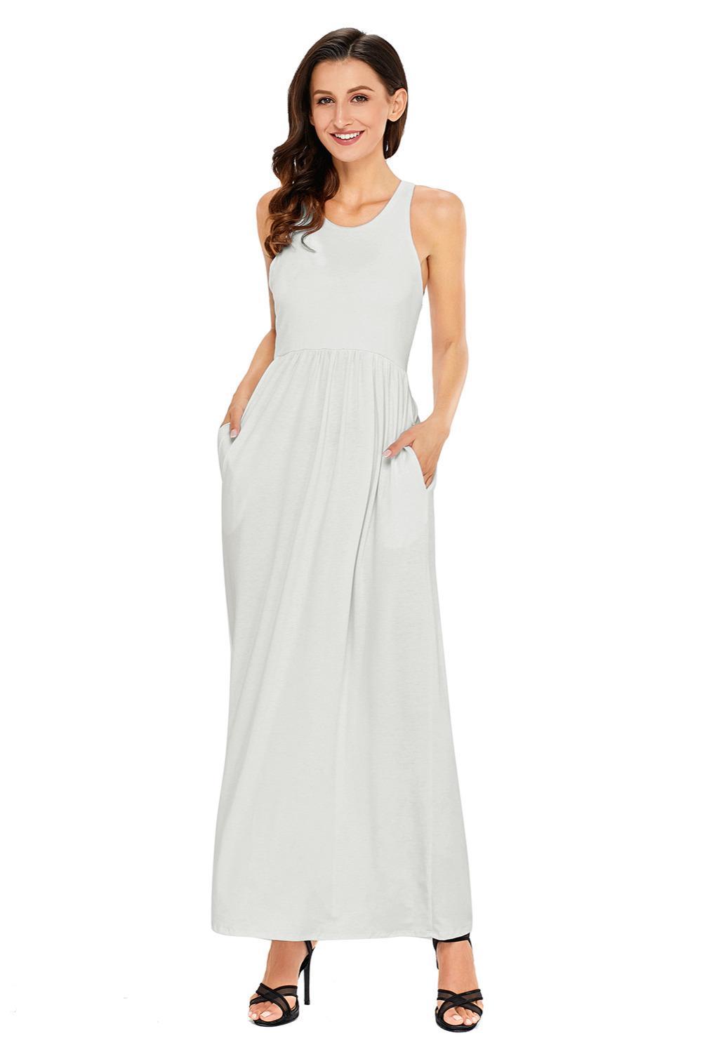 10a432d62d7 Acheter Sexy Lady Femmes Hobo Printemps Plage Casual Vêtements Longues Robe  Longue Plus La Taille Blanc Racerback Maxi Dress Avec Poche S M L XL Xxl  61647 ...