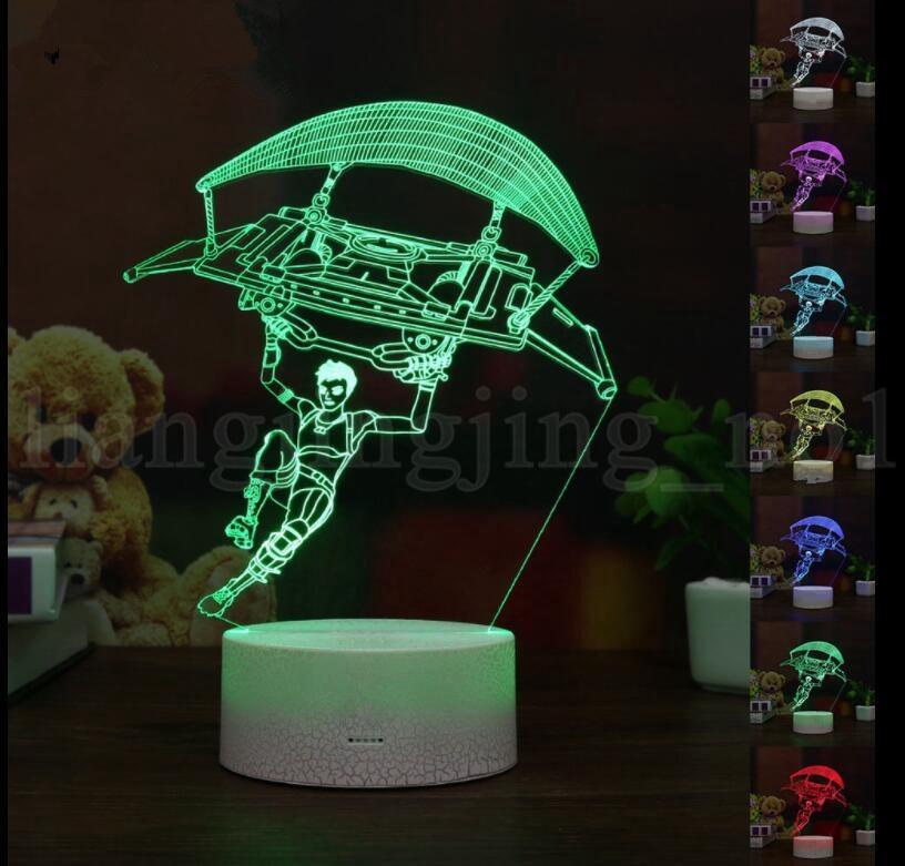 New Fortnite 3D Acrylic LED Night Light Touch Change Desk Table Lamp Light Party Decorative Lamp Home Decor Paragliding 3D Lamp KKA5522 Fortnite Lamp 3D Lamp Modern - Luxury touch lamp Top Search