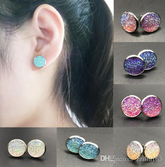 2018 shiny christmas gift kendra style stainless steel frame druzy drusy earrings fashion dangle stud earrings for women gift halloween from zzilin163
