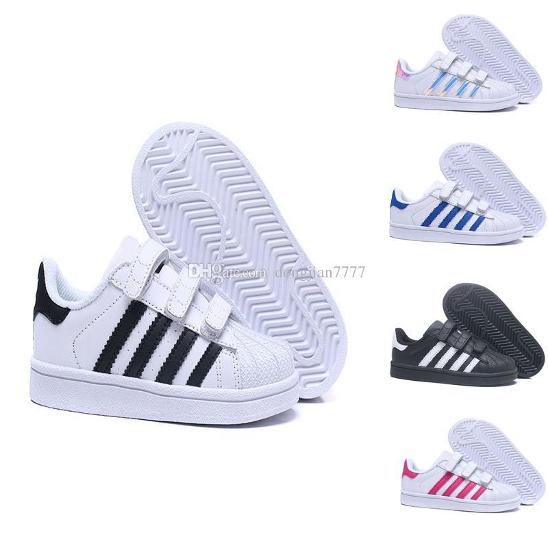 1db2b485b Compre Adidas Superstar Niños Superestrella Zapatos Niños Niñas Zapatillas  De Deporte 2018 Primavera Otoño Invierno Nueva Llegada Moda Súper Estrella  ...