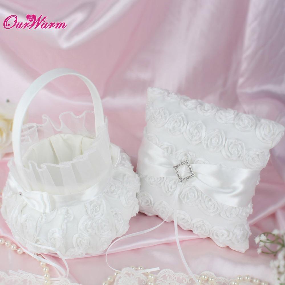 Wedding Ring Pillow Flower Basket Pillow Luxury White Rose Flower