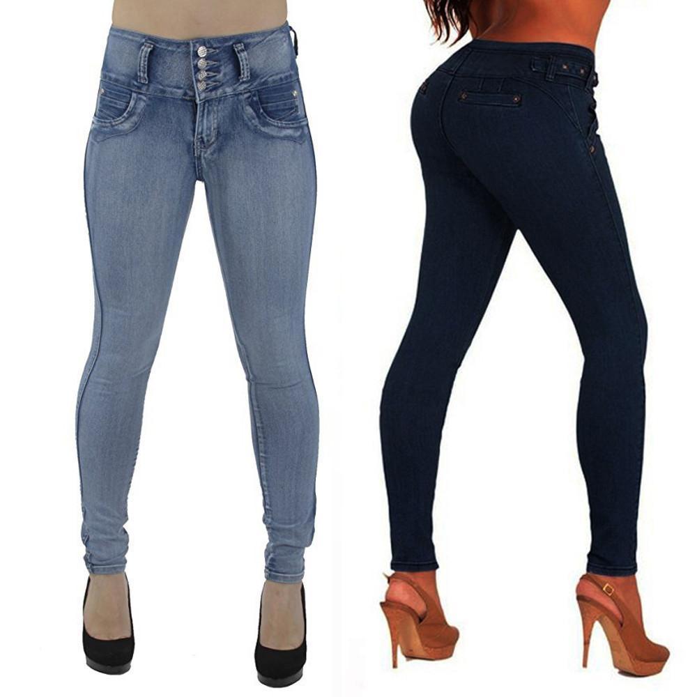 412294c351 Compre Las Mujeres De Cintura Alta De Algodón Skinny Jeans De Mezclilla  Delgada Se Estiran Los Pantalones Delgados Hasta La Pantorrilla Botón De  Los ...