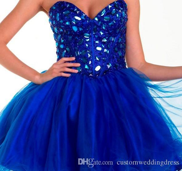 vestidos para festa 2018 new style formal gowns rhinestone beading Cocktail gowns royal blue short prom Dresses