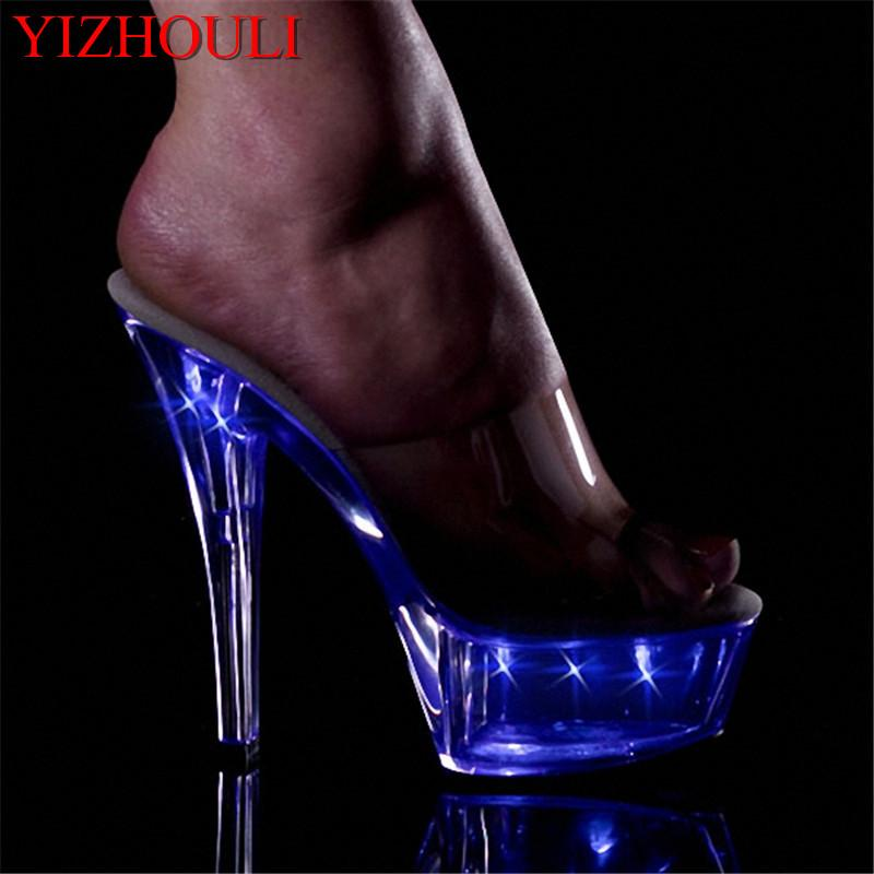d6fe1521dbb 15cm Ultra High Heels Shoes Crystal Flash Lamp Shoes 6 Inch Sexy Womens Exotic  Dancer Stripper Mid Calf Boots Leather Boots For Women From ...