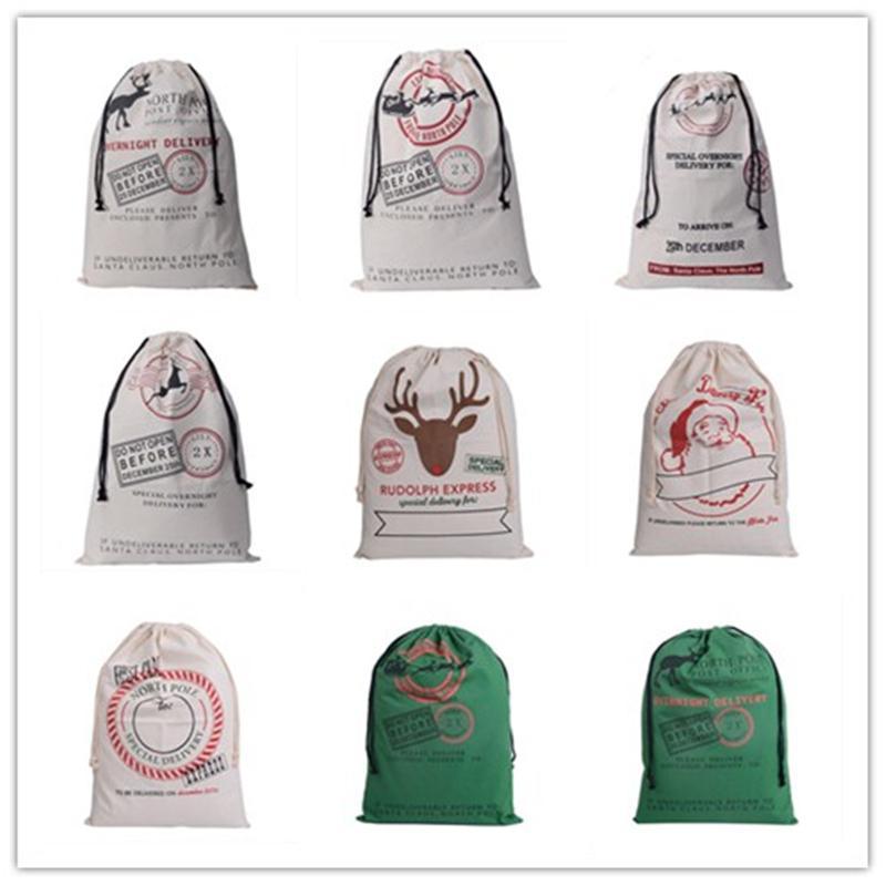 2018 2018 new wholesale gift bag christmas 9 styles drawstring canvas santa sack rustic vintage christmas stocking bags decoration ari 946 from