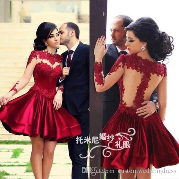 red lace appliques short Prom Dresses vestidos 2018 new style knee-Length long sleeve party Evening gown woman Custom Made