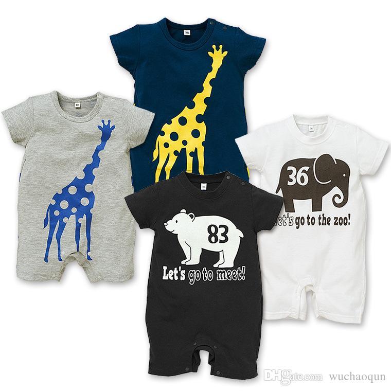 18 NEUE 5 Design säugling Kinder Giraffe Print Baumwolle Coole kurze Ärmel Strampler Baby Klettern Kleidung Jungen Strampler freies Schiff