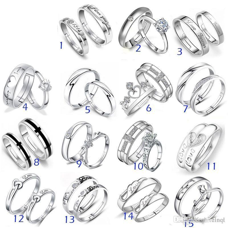 f2c768a51e359 925 Sterling Silver Jewerly Rings DIAMOND ENGAGEMENT RING & WEDDING BAND  Couple Ring SET Mix 15Style