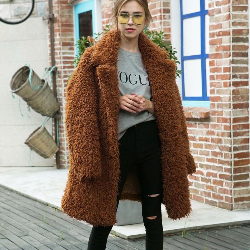 wholesale dealer 39779 c4432 Teddy Coats in pelliccia sintetica per donna 2018 Winter Thick Warm Slim  Fit Pelliccia Teddy Giacche e cappotti Plus Size Lamb Wool cwf0121-5