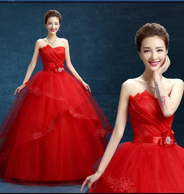 Fashion Classic 2018 nuovo senza spalline economici bianco rosa rosso ricamo abito da sposa romantico abito da sposa abiti da noiva