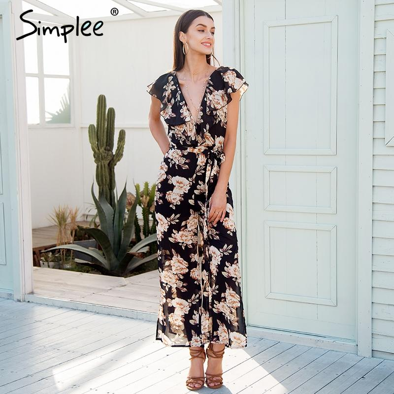 e26fd0ef038 Sexy V Neck Tiered Ruffle Chiffon Jumpsuit Women Side Split Loose Black  Jumpsuit Romper Sash Summer Playsuit 2018 Online with  86.82 Piece on  Meinuo003 s ...