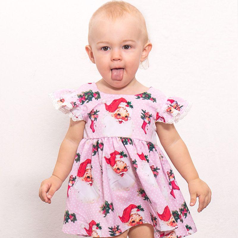 073030f987972 2019 Baby Girls Christmas Dress Children Santa Claus Socks Printed Short  Sleeves Princess Dresses 2018 Summer Fashion Boutique Kids Clothing From ...