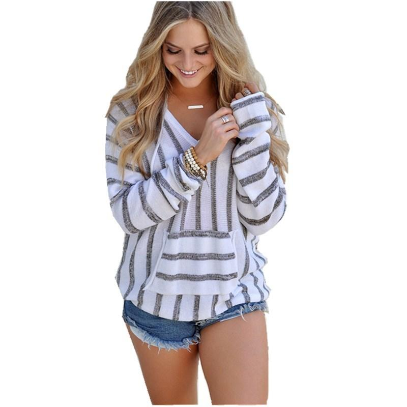 e2eaa3c1f0e Good Quality Women s Sweater Winter New 2018 Casual Loose Striped Hooded Sweater  Shirt Women s Pocket Long Sleeve V-Neck Black Sweater Online with ...