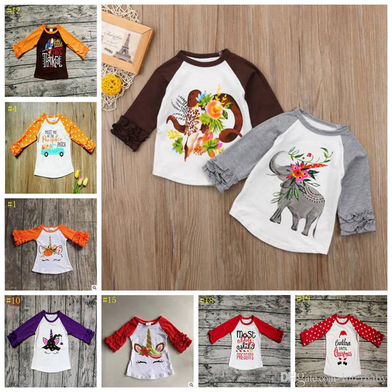 e936768c844 2019 Baby Unicorn T Shirts Kids Christmas Clothing Girls Ruffle Raglan Shirt  Elephant Floral Printed Tee Designer Casual Shirts YL583 1 From Interbaby