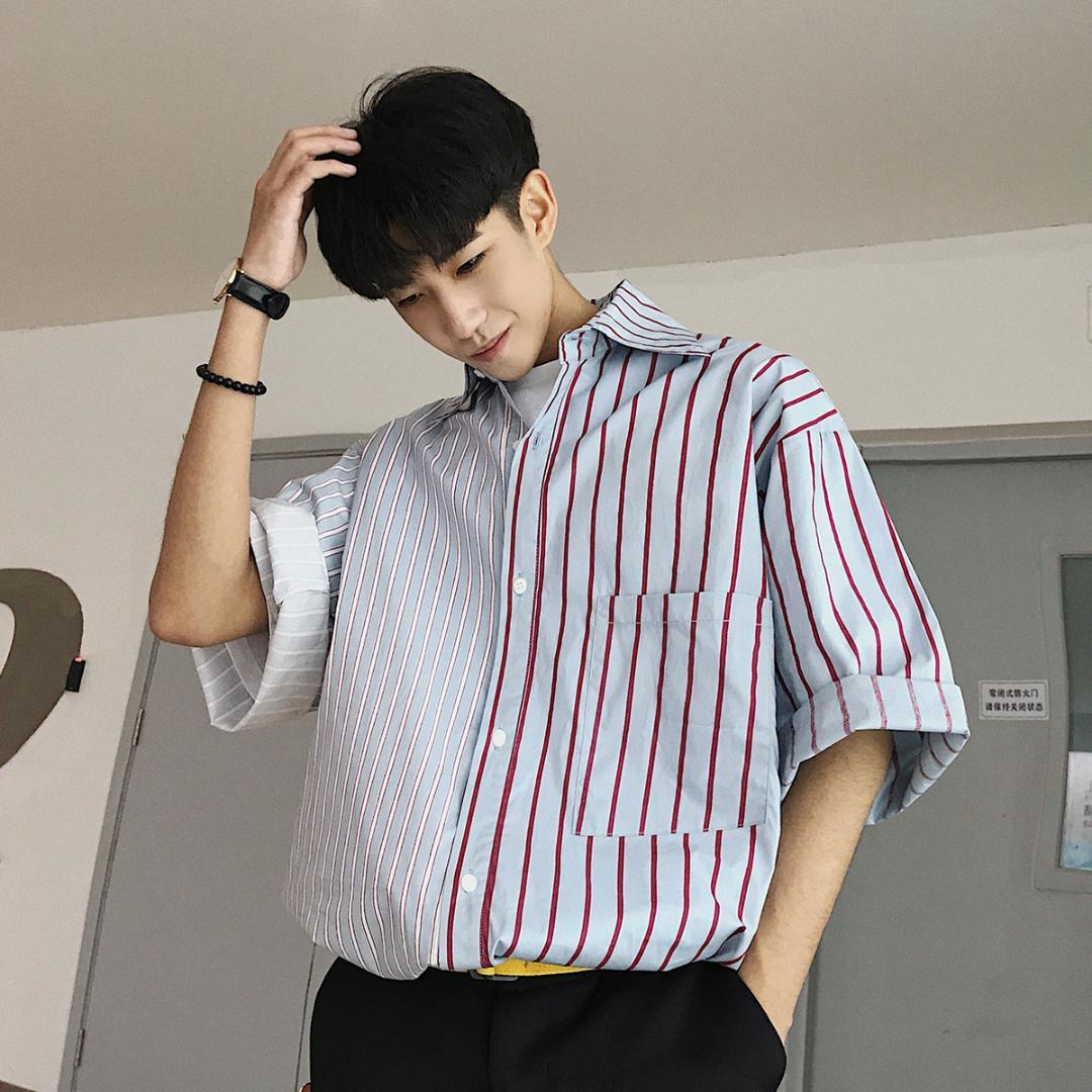98405b2489f 2018 Korean Summer Men s Fashion Tide Personality Vertical Stripe Turn-down  Collar Loose Casual 2 Color Short Sleeve Shirts M-XL