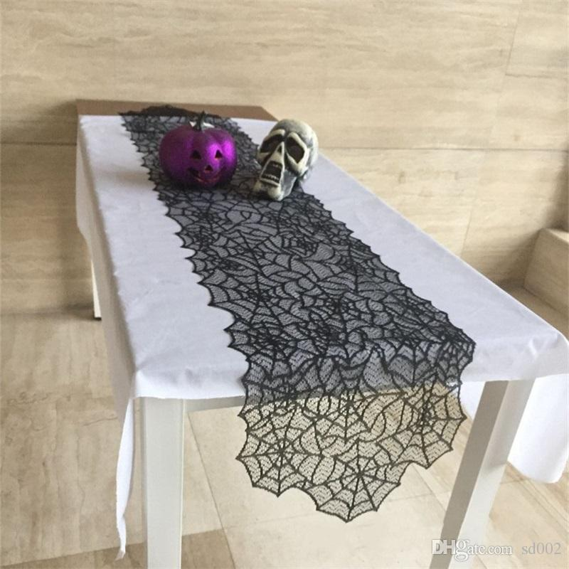 Halloween Knitted Lace Spider Web Table Runner Ghosts Festival Tablecloth Meal Bar Black Retro Tablecloths Halloweens Recorations 8jh gg