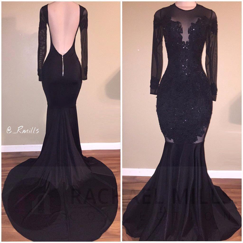 Open Back Mermaid Formale Abendkleider 2018 Sheer Long Sleeve Schwarz Celebrity Pageant Kleider mit Spitze Prom Kleider BA1531